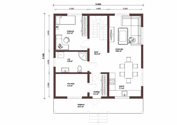 Планировка первого этажа дачного дома Троицк