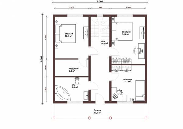 Планировка мансардного этажа проекта Троицк