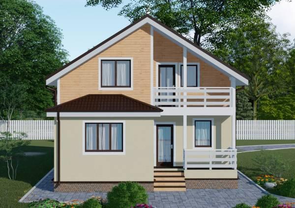Фасад дачного дома с мансардным этадом и балконом по проекту Владимир