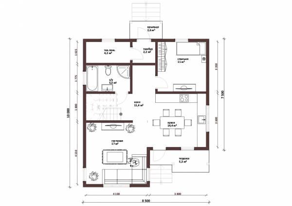 Планировка первого этажа дачного дома проект Владимир