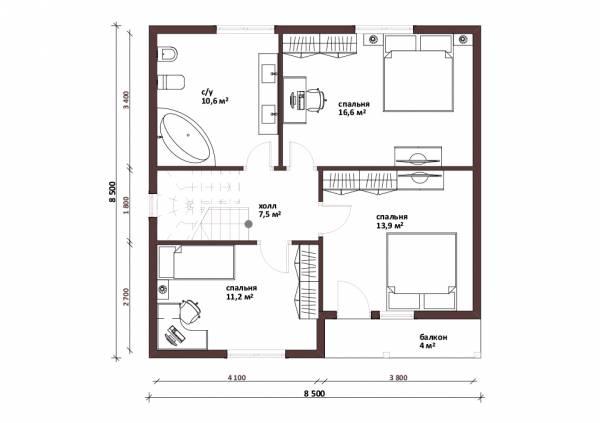 Планировка мансардного этажа дачного дома проект Владимир