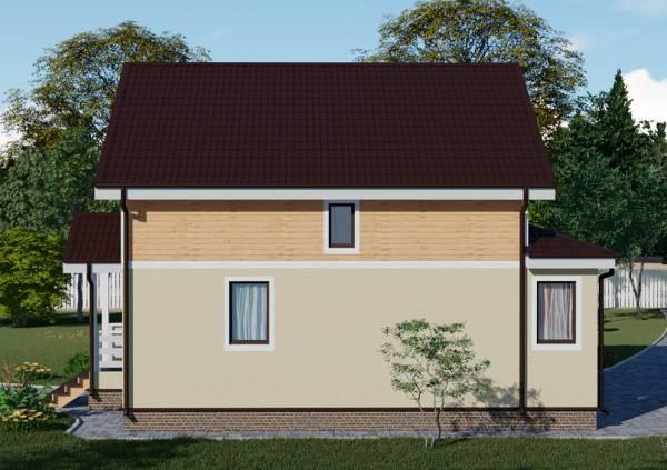 Вид сбоку на проект дачного дома Владимир