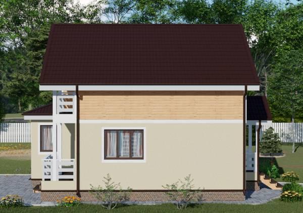 Вид сбоку на кровлю дачного дома по проекту Владимир