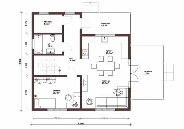 Планировка первого этажа коттеджа Калуга
