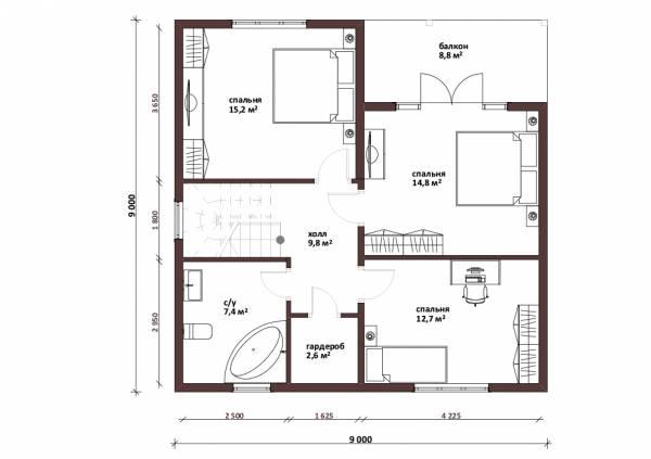 Планировка второго этаджа проекта коттеджа Калуга
