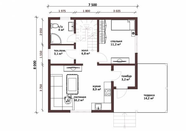 Планировка первого этажа проекта дачного дома Жаворонки