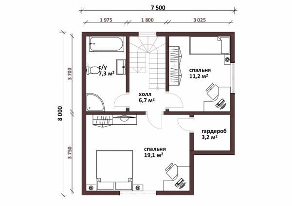 Планировка мансардного этажа дачного дома по проекту Жаворонки