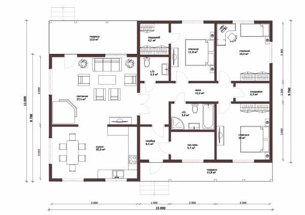 Планировка одноэтажного дачного дома проект Зеленый от СК Дом Мастеров
