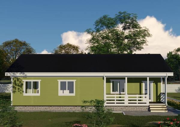 Вид сбоку на дачный дом проекта Зеленый
