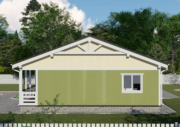 Фотография одноэтажного дачного дома размером 11 на 15 метров проект Зеленый