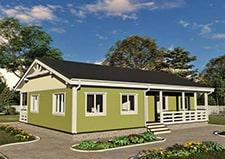 Одноэтажный дачный дом проект Зеленый 11 на 15 метров
