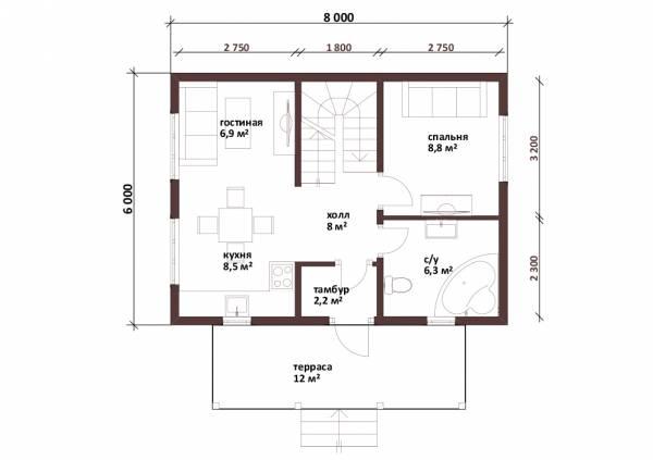 Планировка проекта дачного двухэтажного дома Пушкино первый этаж