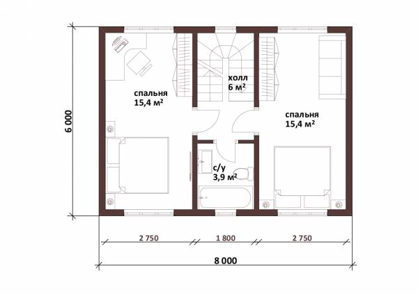Планировка мансардного этажа дачного дома по проекту Пушкино
