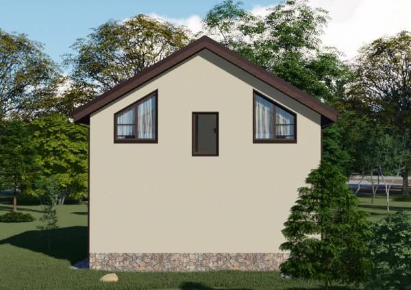 Вид с другого бока визуализация проекта дачного дома 6х8 Пушкино