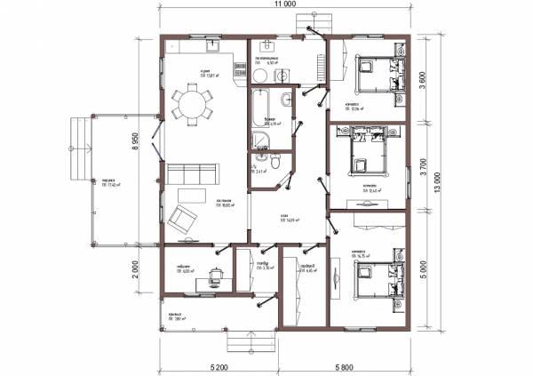 Планировка типового проекта Сергиев-Посад строим коттедж