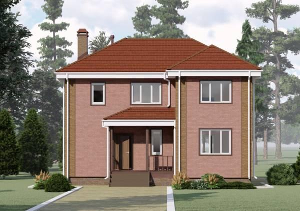 Фасад двухэтажного коттеджа по проекту Алексин