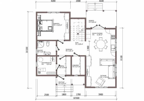 Планировка первого этажа коттеджа по проекту Алексин