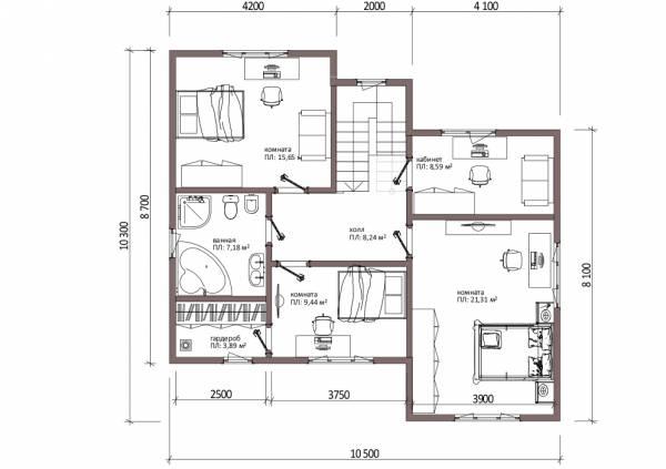 Планировка второго этажа коттеджа по проекту Алексин