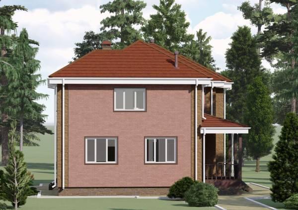 Вид с боку на двухэтажный коттедж проект Алексин