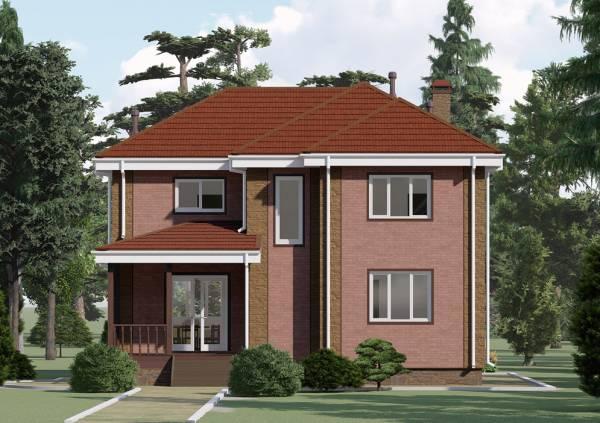 Визуализация вида сбоку на двухэтажный коттедж Алексин