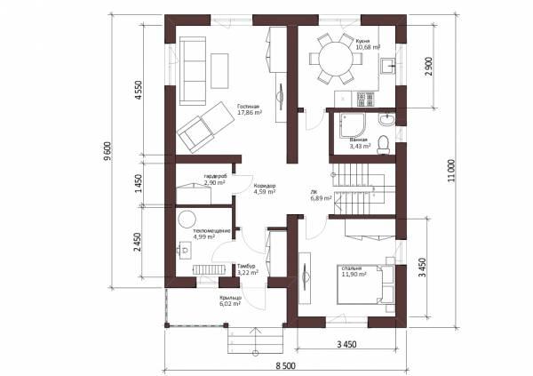 Схема первого этажа коттеджа Ковров для постоянного проживания