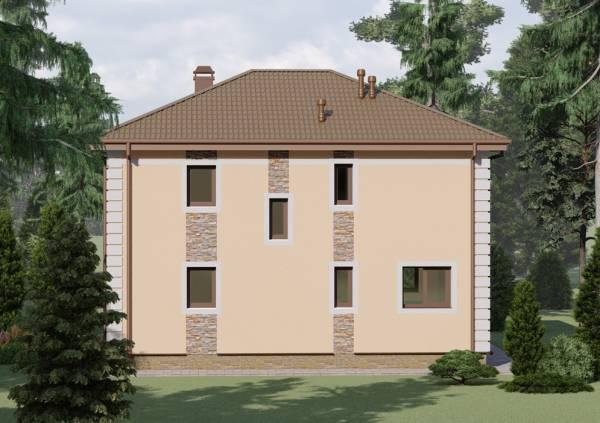 Вид сбоку на двухэтажный коттедж по проекту Ковров
