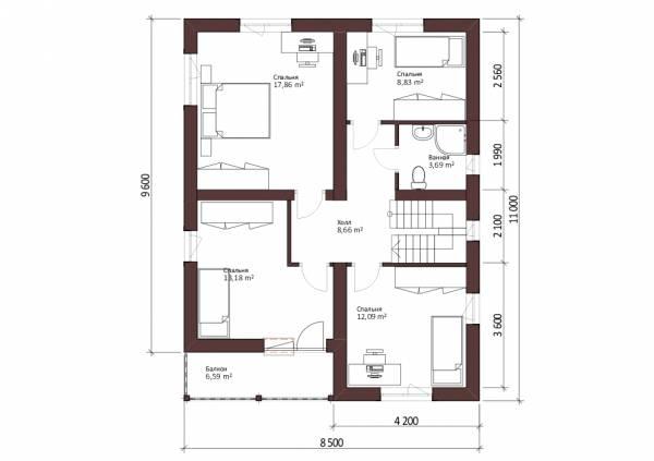 Схема второго этажа коттеджа по проекту Ковров