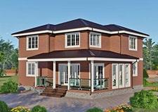 Визуализация двухэтажного коттеджа по проекту Лобня для постоянного проживания.