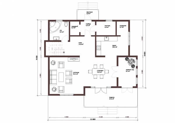 Планировка первого этажа двухэтажного коттеджа Лобня.
