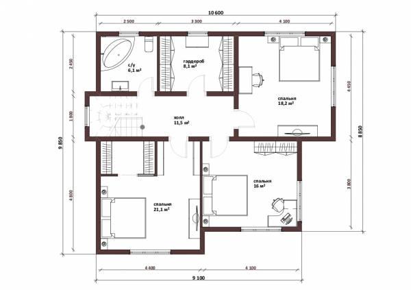 Планировка второго этажа двухэтажного коттеджа проект Лобня