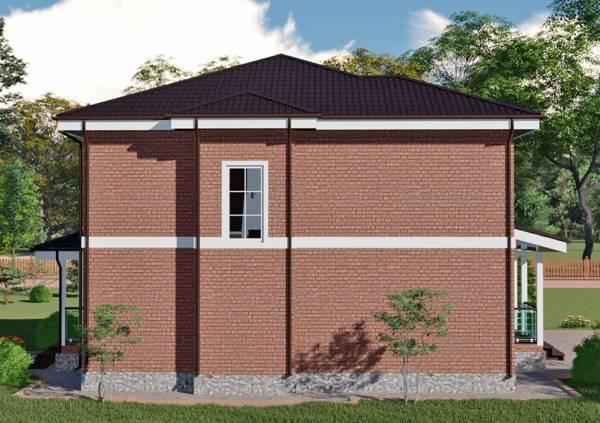 Подробный вид на одну из стен двухэтажного коттеджа Лобня проект.