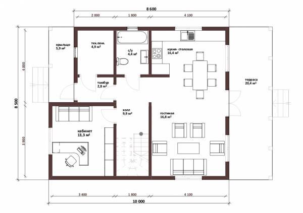 Планировка первого этажа двухэтажного коттеджа Лыткарино -1этаж.