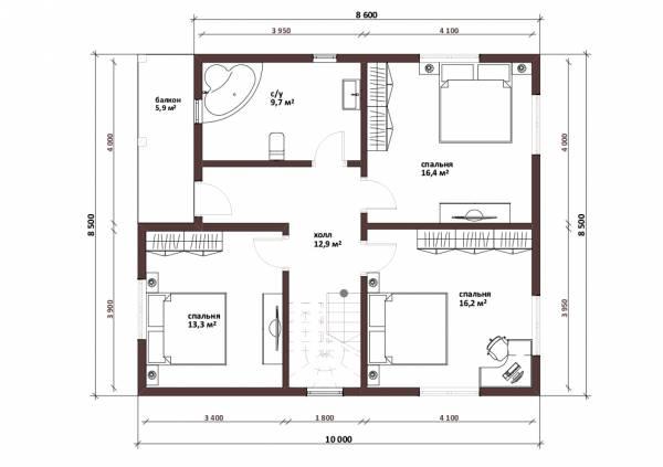 Планировка второго этажа двухэтажного коттеджа проект Лыткарино - 2этаж.