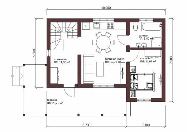 Планировка первого этажа дачного дома проект Пущино - схема, фото, картинки