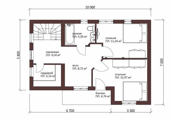 Планировка маансардного этажа проект дачного дома Пущино.