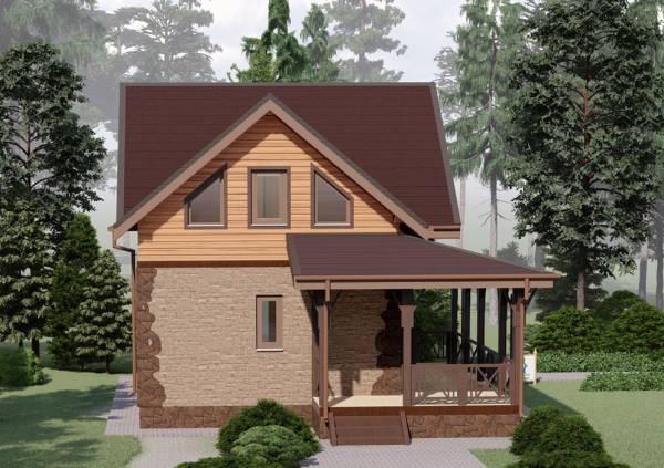 Визуализация фасада дачного дома проект Пущино - 3D