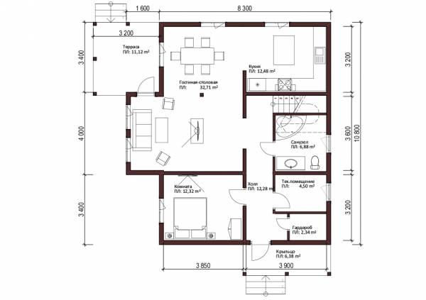 Планировка первого этажа коттеджа Рошаль для постоянного проживания