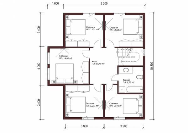 Планировка мансардного этажа коттеджа Рошаль для постоянного проживания