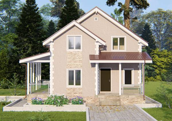 Фасад дачного дома проект Верея