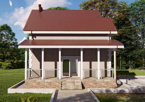 Вид на крыльцо дачного дома проекта Верея