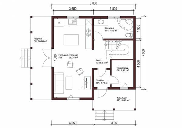 План первого этажа дачного дома проекта Верея