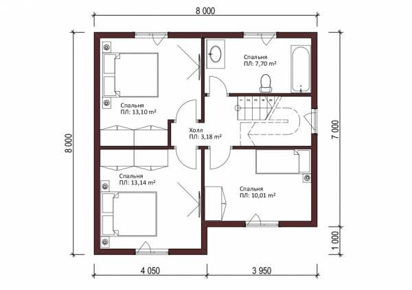 Планировка мансардного этажа дачного дома проект Верея