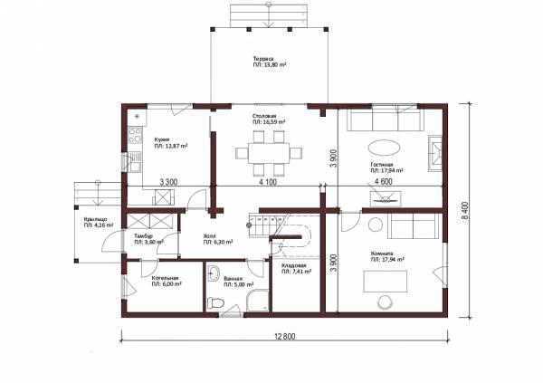 Планировка первого этажа коттеджа Шатура