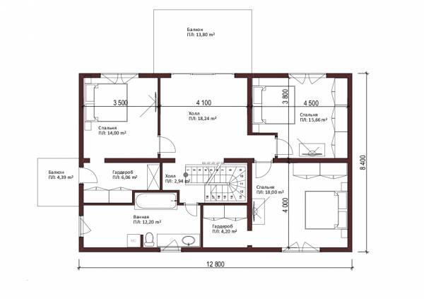 Планировка второго этажа коттеджа Шатура