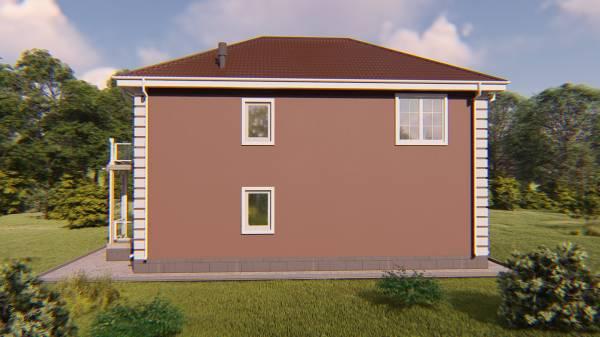 3D вид на проект двухэтажного коттеджа Шатура