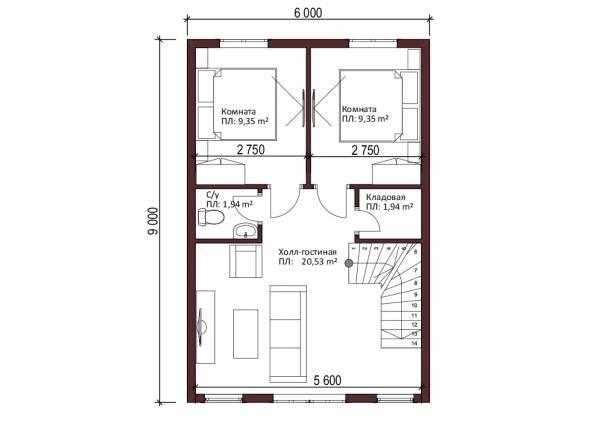 2-ой этаж дачного дома проект Купавна