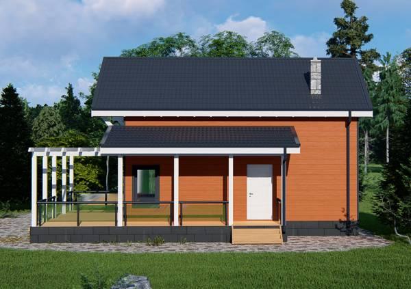 Вид сбоку на дачный дом проекта Купавна