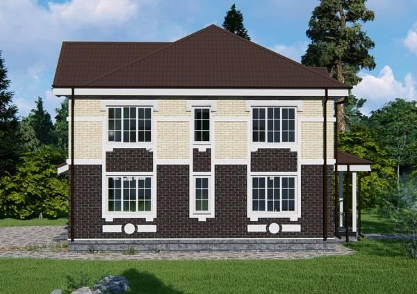 Фасад и отделка двухэтажного коттеджа проект Хотьково