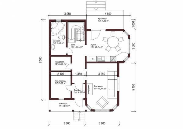 Дачный дом планировка первого этажа Кубинка