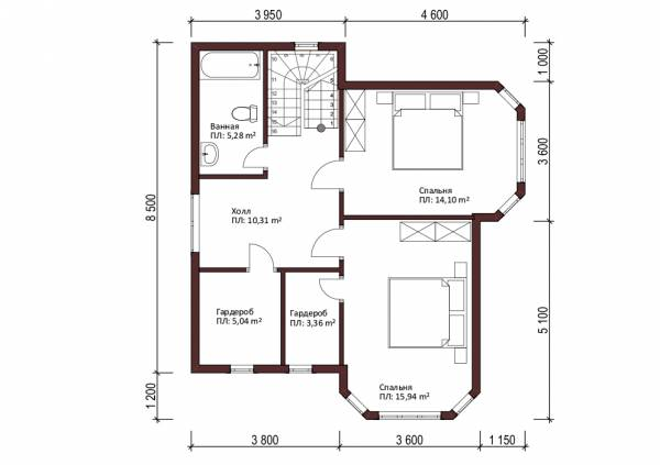 Мансардный этаж дачного дома проект Кубинка